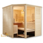 ALASKA Infra+ Prestige Massivholz Saunakabine Mod. Eck 204x204 - Fenster rechts