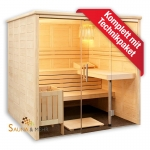 Domo by Sentiotec - Alaska View Massivholzsauna m.Glasfront 208 x 206 cm - Gerade