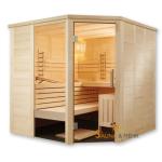 ALASKA Infra+ Prestige Massivholz Saunakabine Mod. Eck 204x204 - Fenster links
