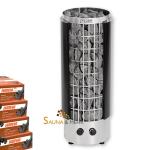 HARVIA Cilindro H Säulen Saunaofen mit integrierter Steuerung - halb offen - Fb. schwarz 9,0 kW mit Saunasteinen
