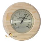"""Sauna Hygrometer """"Komfort"""" 0-100 % in Nadelholz rund"""