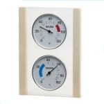 Klimastation - Thermometer u. Hygrometer in Glas mit Holzrahmen Espe