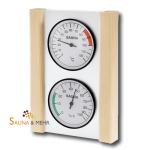 Klimastation - Thermometer u. Hygrometer in Glas mit Holzrahmen Fichte
