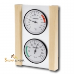 Klimastation - Thermometer u. Hygrometer in Glas mit Holzrahmen