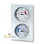 Klimastation - Thermometer u. Hygrometer im Glasrahmen