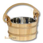 Sauna Aufguss Kübel 3 Ltr. Nadelholz mit Edelstahl-Einsatz und Rattanhenkel