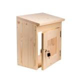 Schutzkasten für Saunasteuerung aus Holz abschließbare Tür mit Glaseinsatz