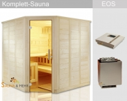 "KOMPLETT Sauna WELL.FUN Eck 204 x 204 - EOS Technik-Set ""Dampf"""