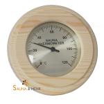 """Sauna Thermometer """"Komfort"""" 0-120°C in Nadelholz rund"""