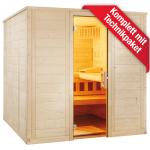"""Domo by Sentiotec - Wellfun Large Massivholzsauna 205 x 205 x 204 cm - Gerade Finntrend - Klassische """"Finnische Sauna"""""""