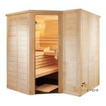 wood.LINE TREND 6-Eck Massivholz Saunakabine 204x204 - Rechts