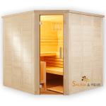 wood.LINE TREND Massivholz-Sauna Eckmodell - 204x204 cm - Links