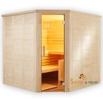 wood.LINE TREND Massivholz-Sauna Eckmodell - 204x204 cm - Rechts