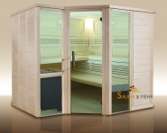 wood.LINE Premio 6-Eck Massivholz-Sauna - 232x204 cm - Links