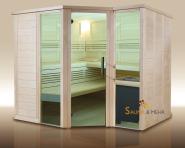 wood.LINE Premio 6-Eck Massivholz-Sauna - 232x204 cm - Rechts