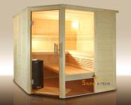 wood.LINE Premio Massivholz-Sauna Eckmodell - 204x204 cm - Links