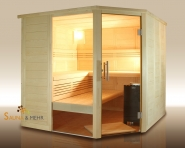 wood.LINE Premio Massivholz-Sauna Eckmodell - 204x204 cm - Rechts
