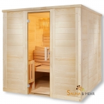 wood.LINE TREND Massivholz-Sauna gerades Modell - 204x204 cm - Links