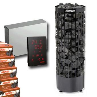 "Technik-Set | Harvia Cilindro ""Black Steel"" Saunaofen + Harvia Steuerung Xenio CX110 + Saunasteine - 9 kW"