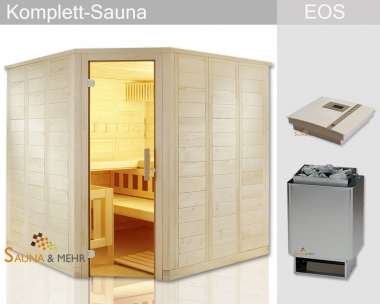 "KOMPLETT Sauna WELL.FUN Eck 204 x 204 - EOS Technik-Set ""Finnisch"""