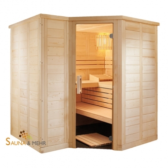 wood.LINE TREND 6-Eck Massivholz Saunakabine 204x204 - Links