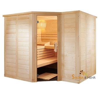 wood.LINE TREND 6-Eck Massivholz Saunakabine 232x204 - Rechts