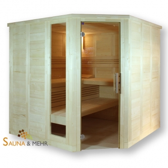 wood.LINE Classic Massivholz-Sauna Eckmodell - 204 x 204 cm - Rechts