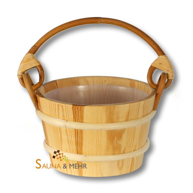Sauna Aufguss Kübel 4 Ltr. aus Nadelholz mit Rattanhenkel
