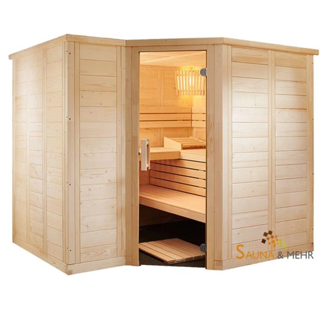 wood.LINE TREND 6-Eck Massivholz Saunakabine 232x204 - Links