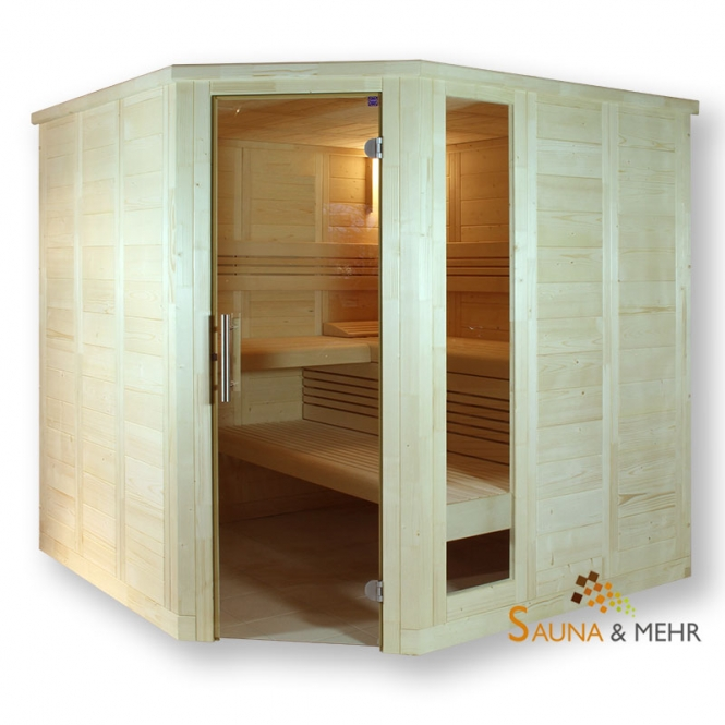 wood.LINE Classic Massivholz-Sauna Eckmodell - 204x204 cm - Links