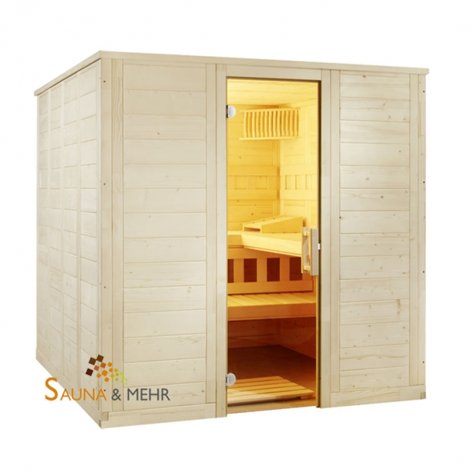 sauna und mehr shop komplett sauna well fun gerade 204 x 204 eos technik set dampf. Black Bedroom Furniture Sets. Home Design Ideas