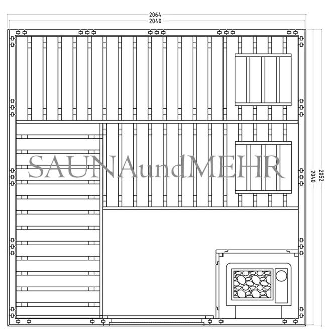 sauna und mehr shop komplett sauna well fun gerade 204 x 204 eos technik set dampf. Black Bedroom Furniture Sets. Home Design Ideas