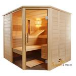 ALASKA Infra+ Emotion Massivholz Saunakabine Mod. Eck 204x204 Fenster - Links