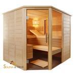 ALASKA Infra+ Emotion Massivholz Saunakabine Mod. Eck 204x204 Fenster - Rechts
