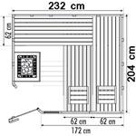 wood.LINE Classic Massivholz-Sauna Eckmodell - 232x204 cm - Links
