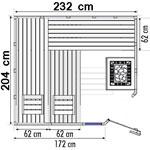wood.LINE Classic Massivholz-Sauna Eckmodell - 232x204 cm - Rechts