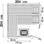 wood.LINE Classic Massivholz-Sauna Eckmodell - 204 x 204 cm - Links