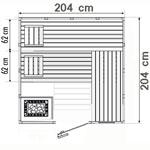 wood.LINE Classic Massivholz-Sauna - 204 x 204 cm - Links