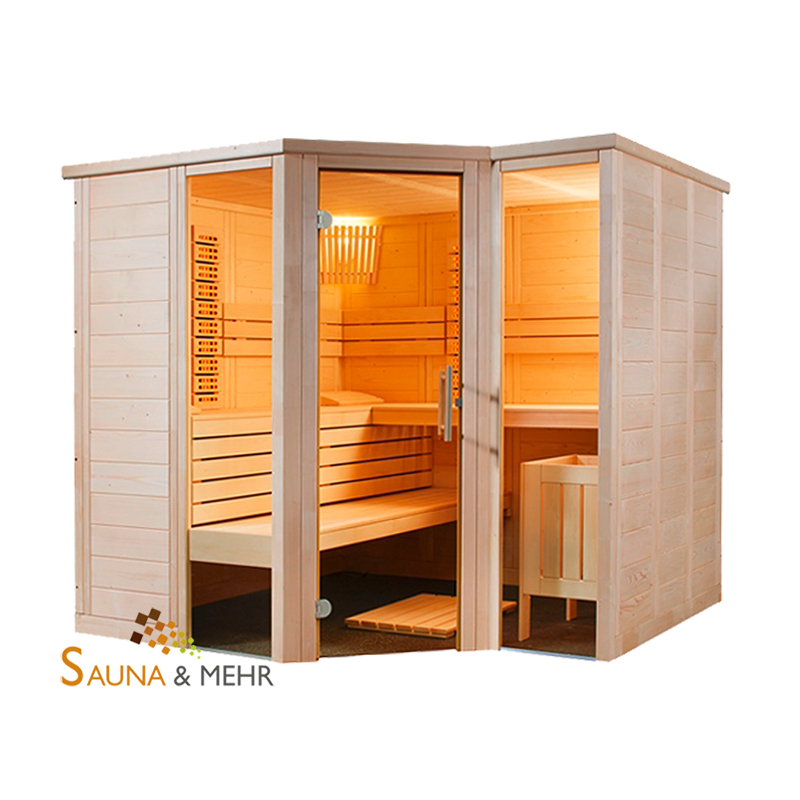 sauna und mehr shop arktis infra massivholz saunakabine 232 x 204 cm mit ir system rechts. Black Bedroom Furniture Sets. Home Design Ideas