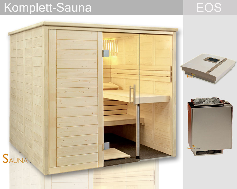 sauna und mehr shop komplett sauna alaska gerade 204 x 204 set eos technikset dampf. Black Bedroom Furniture Sets. Home Design Ideas
