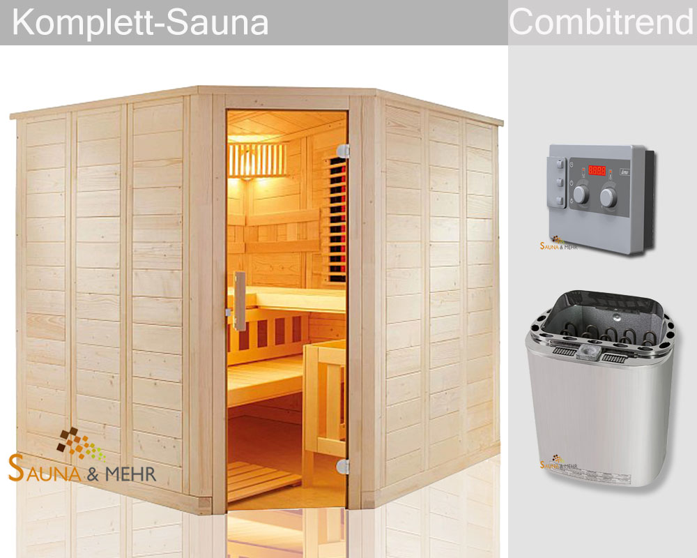 sauna und mehr shop komplett sauna well fun infra eck 204 x 204 set scandia combicontrol. Black Bedroom Furniture Sets. Home Design Ideas