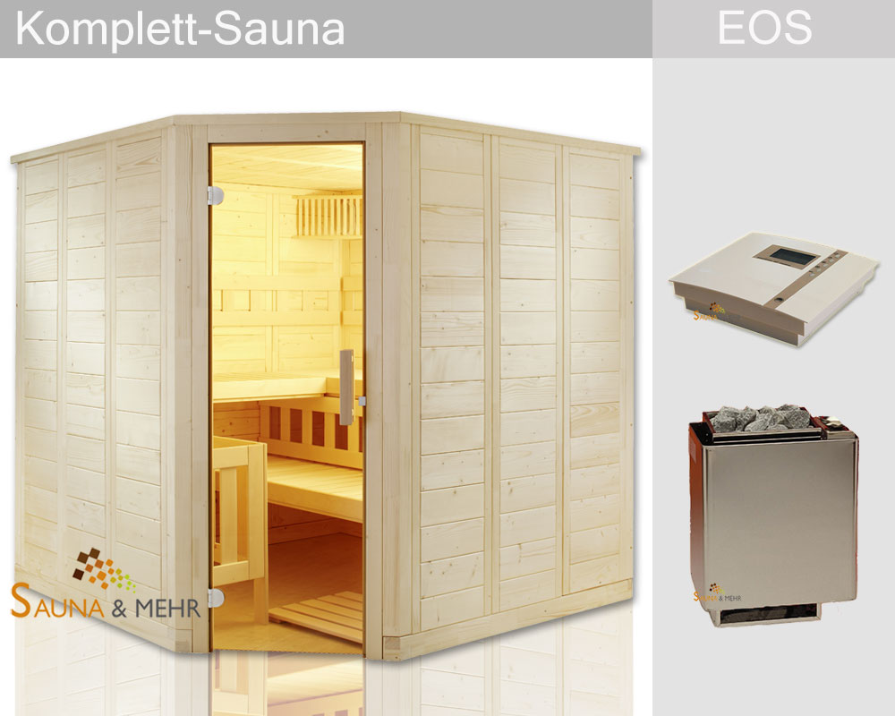 sauna und mehr shop komplett sauna well fun eck 204 x 204 eos technik set dampf online. Black Bedroom Furniture Sets. Home Design Ideas