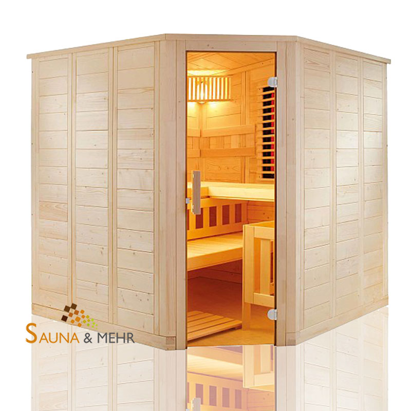 sauna und mehr shop wellfun infra massivholz saunakabine 204 x 204 cm mit ir system. Black Bedroom Furniture Sets. Home Design Ideas